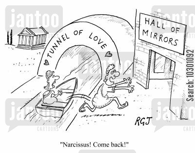 adventure parks cartoon humor: Narcissus! Come back!