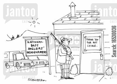 tall story cartoon humor: National Bass Anglers Headquarters - 'Thank you for not lying.'