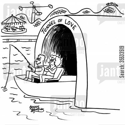 tunnels of love cartoon humor: Husband and wife come out of Tunnel of Love, and man is fishing