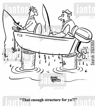structures cartoon humor: Two fishermen land on stumps. Man says to other, 'Is that enough structure for ya?!'