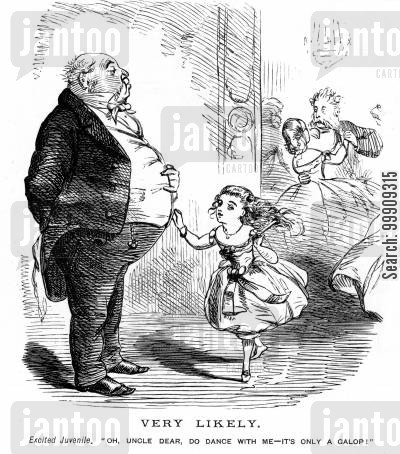 dance partner cartoon humor: Little Girl Wants To Dance at the Ball.