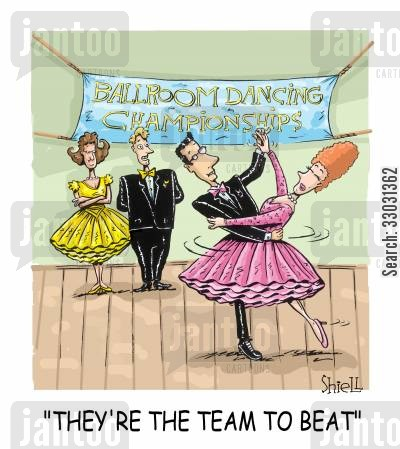 ballroom dancers cartoon humor: They're the team to beat.