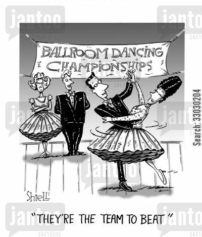 ballroom cartoon humor: They're The Team To Beat.