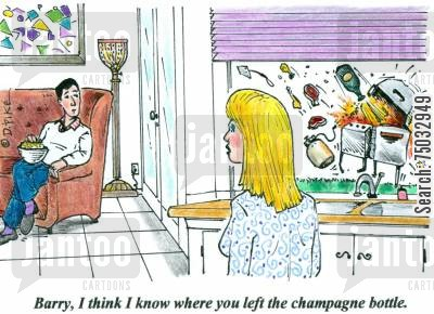 preparation cartoon humor: 'Barry, I think I know where you left the champagne bottle.'
