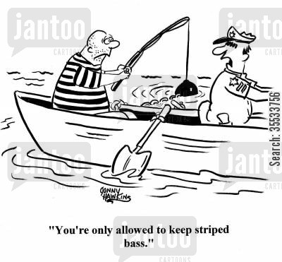 jailbird cartoon humor: Police officer to conman: 'You're only allowed to keep striped bass.'
