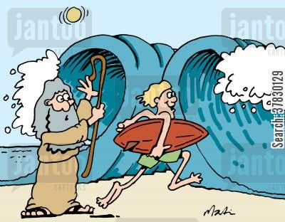 red sea cartoon humor: Moses and surfer.