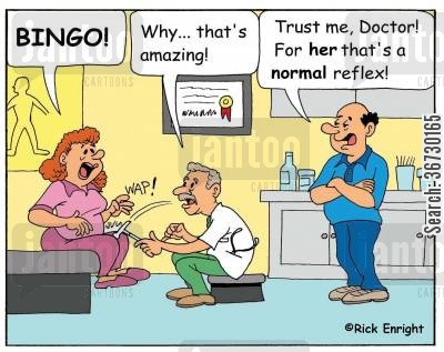 reflex cartoon humor: 'Why, that's amazing!'  'Trust me, Doctor! For her, that's a normal reflex!'