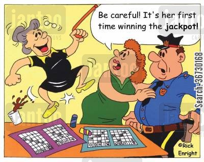 playing bingo cartoon humor: 'Be careful! It's her first time winning the jackpot!'