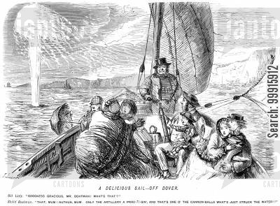 pleasure cartoon humor: People being taken sailing are startled to find that the artillery are practising around them