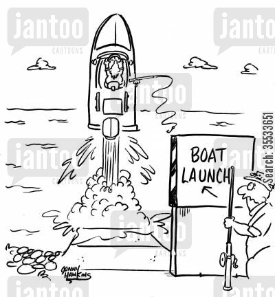rocket launches cartoon humor: 'Boat Launch'