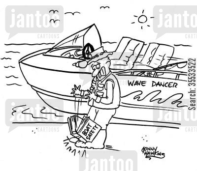 speed boats cartoon humor: Man drops book about 'Boat Safety' on foot