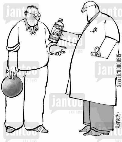 bowling balls cartoon humor: Doctor using soap to remove a bowling ball.