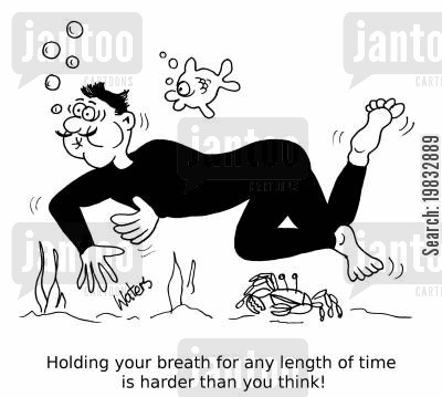 scuba divers cartoon humor: Holding your breath for any length of time is harder than you think!