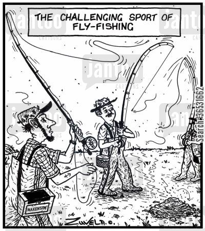 challenges cartoon humor: The challenging sport of Fly-fishing.