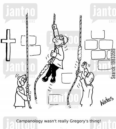 bell ringing cartoon humor: Campanology wasn't really Gregory's thing!