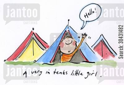 rainy days cartoon humor: A very in tents little girl.