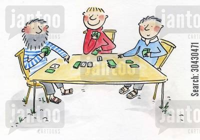 poker nights cartoon humor: Playing cards.