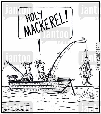 hook line and sinker cartoon humor: Fisherman: 'HOLY MACKEREL!'