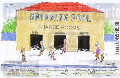 leisure center cartoon humor: Change Rooms.
