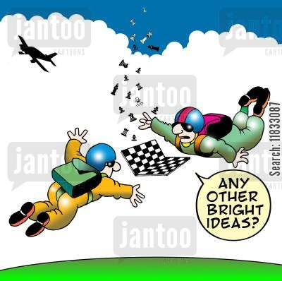 parachute jumps cartoon humor: Any other bright ideas?