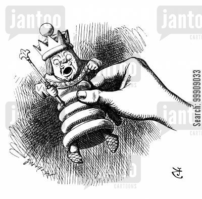 chess pieces cartoon humor: Alice Through The Looking Glass - Alice Lifts the King.