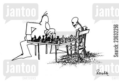 chess players cartoon humor: Chess - Player takes an eternity to make his move.