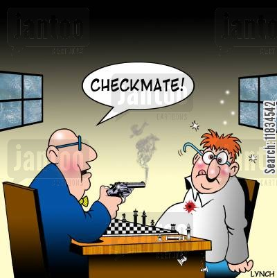 sore losers cartoon humor: 'Checkmate!'