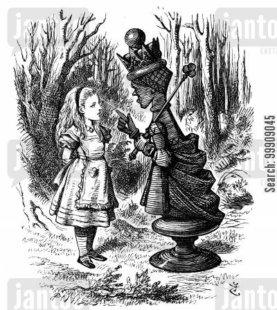children's literature cartoon humor: Alice Through the Looking Glass - Alice and the Red Queen.