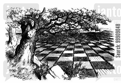 chess boards cartoon humor: Alice Through the Looking Glass - The Countryside Looks Like a Chess Board.