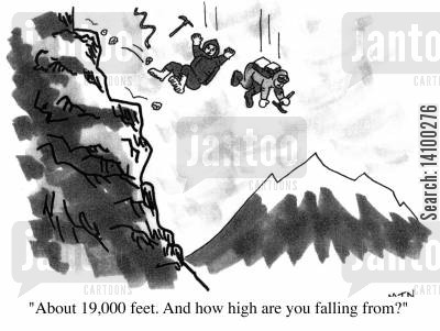 fallen cartoon humor: About 19,000 feet. And how high are you falling from?