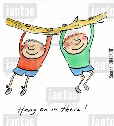 tree houses cartoon humor: Hang on in there!