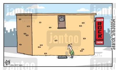 thrill cartoon humor: Indoor Rock climbing.