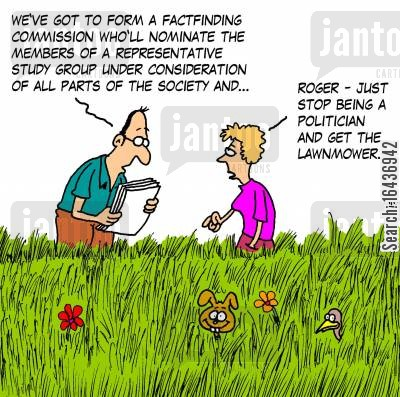 grass cutter cartoon humor: 'Roger - just stop being a politician and get the lawnmower.'