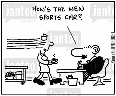 convertible cars cartoon humor: 'How's the new sports car.'
