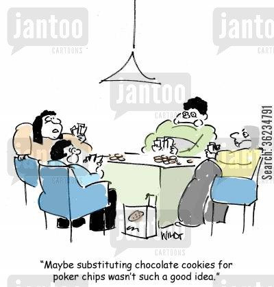 poker chip cartoon humor: Maybe substituting chocolate cookies for poker chips wasn't such a good idea.