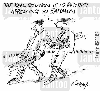 fielders cartoon humor: 'The real solution is to restrict appealing to batsmen.'