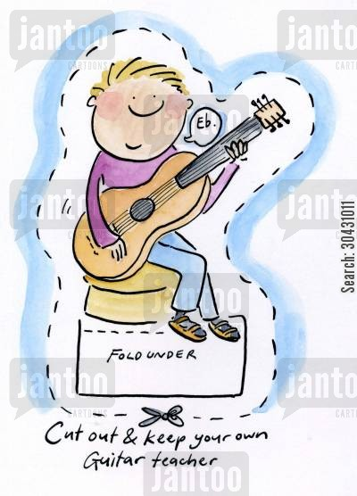 folk music cartoon humor: Cut out and keep your own Guitar Teacher.