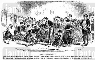 dickens cartoon humor: The dancing school