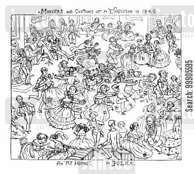 polka dancing cartoon humor: Manners and Customs of the English - The Polka