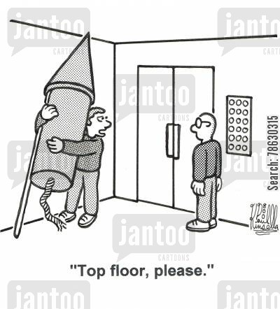 bonfire cartoon humor: 'Top floor, please.'