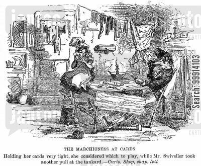 old curiosity shop cartoon humor: The Marchioness at cards