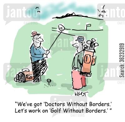 flying doctor cartoon humor: We've got Doctor's without Borders. Let's work on Golf Without Borders.