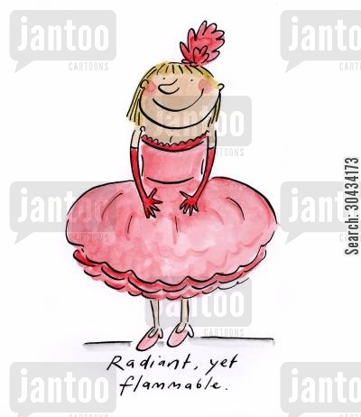 transvestite cartoon humor: Radiant, yet flammable.