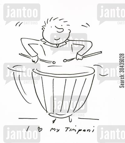 drumming cartoon humor: I love my Timpani