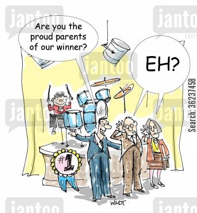 drumming cartoon humor: 'Are you the proud parents of our (drumming contest) winner?'