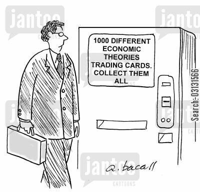 economic theory cartoon humor: 1000 different economic theories trading cards. Collect them all.