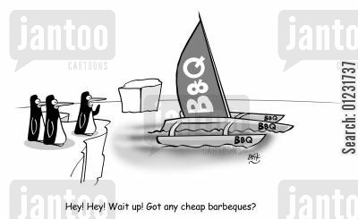 macarthur cartoon humor: Hey! Hey! Wait up! Got any cheap barbeques?