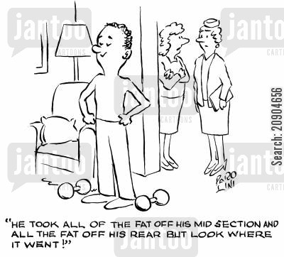 dumbell cartoon humor: 'He took all of the fat off his mid-section and all the fat off his rear but look where it went!'