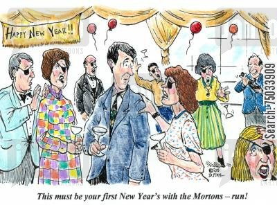 new years eve cartoon humor: 'This must be your first New Year's with the Mortons - run!'