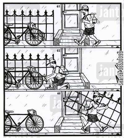 take cartoon humor: Guy removes fence from where a bike is parked.